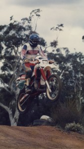 Dazza jumping on Dirt Bike